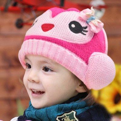 ~特佳~全新..淘氣小猴毛線帽..玫瑰紅...全新商品任選3件、全館10件免運費(限超商取貨付款)
