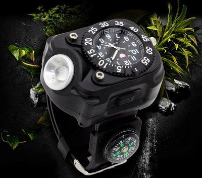 手錶 戶外運動 照明 指南針 LED 夜跑 防身 手電筒