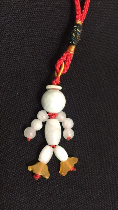 天使熊小鋪~玉石人型手機吊飾 可當手提包掛飾