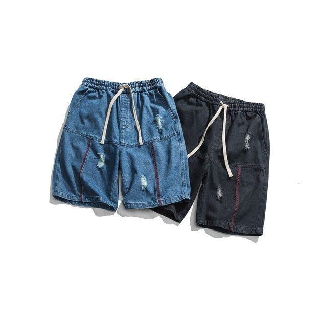 FINDSENSE 正韓薄款短褲 G6 夏款新款 明線牛仔短褲 短褲 休閒褲 男褲