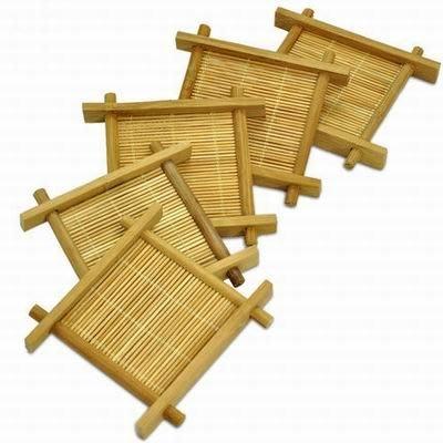【井字杯托墊-天然竹-內直徑7cm-外框9*1cm-6個/組】茶道茶具配件功夫茶墊杯墊 天然竹制-7501015