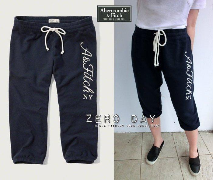 【零時差】A&F真品Abercrombie&Fitch Banded Crop Sweatpants七分縮口休閒棉褲深藍