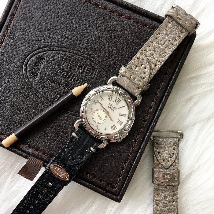 二手旗艦 FENDI 銀色 內珍珠貝 圓形 1925 手錶 附替換帶 (中友店) 27506
