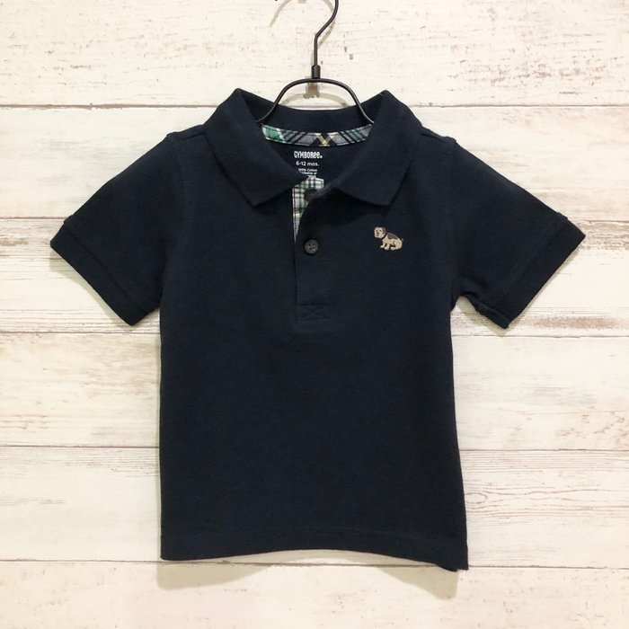 Maple麋鹿小舖 美國購買童裝品牌 GYMBOREE 男童深藍色狗狗圖樣POLO短衫 * ( 現貨6-12 mos )