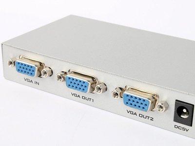 VGA轉VGA分接器 一進二出 電視線 電腦螢幕線 影音線 顯示器連接線可用 銀色 ZA-46542