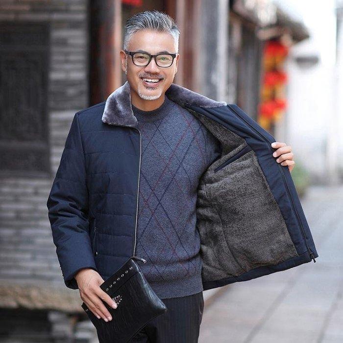 爸爸冬裝棉衣男士冬季中長款加厚保暖棉襖中老年男棉服外套-小精靈生活館
