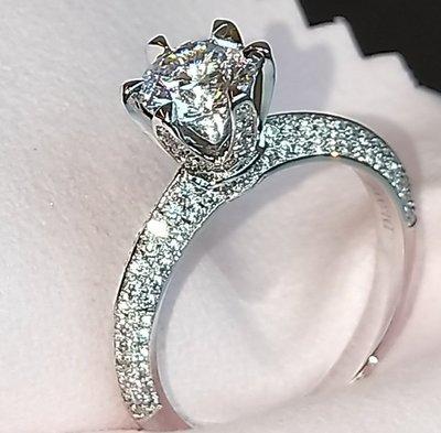 半壁江山1克拉6爪鑲滿鑽高仿鑽戒真鑽相似度92%更璀璨求婚 結婚高仿真鑽石手飾 歐美豪華高檔微鑲純銀戒指鑽寶出品年終特價