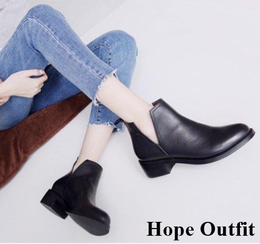 韓國 全真皮 V口裸靴 兩色 裸靴 真皮裸靴 皮靴 麂皮靴 短靴 麂皮短靴