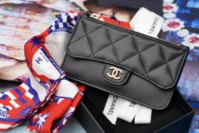 Chanel AP0374 O card holder 荔枝紋 拉鍊卡片零錢包 黑 淡金