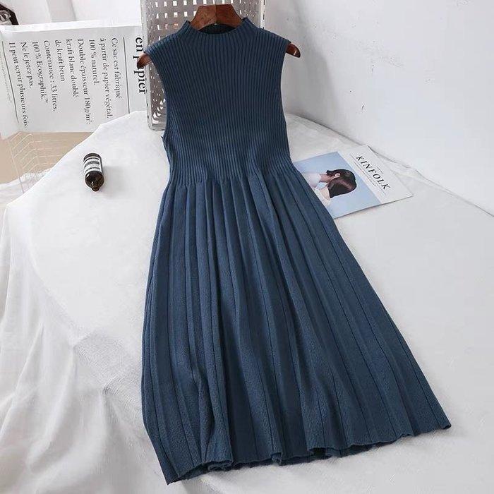韓版復古針織連身裙洋裝長裙