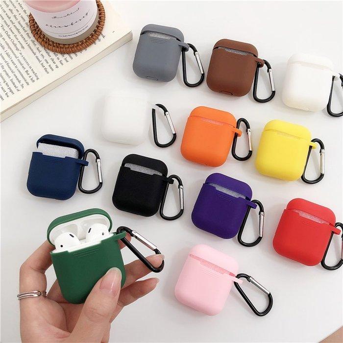 airpods保護殼 適用Airpods保護套蘋果無線藍牙耳機簡約純色硅膠防摔收納盒男女 時光機