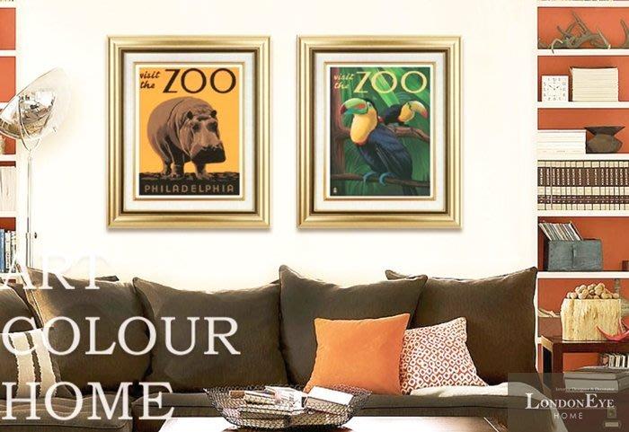 【 LondonEYE 】小法國系列-春日派對X動物園狂想 熱帶鸚鵡/犀牛復古香檳金框裝飾畫 樣品屋/豪宅PT102