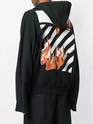 [FDOF] 預購 OFF-WHITE DIAGONAL FIRE BACK ZIP HOODY 18SS 火焰帽衫