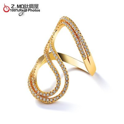 銅鍍金貴氣戒指 S型水鑽合金戒指 鍍金飾品 轉運配飾 新娘配飾 單件價【BKG055】Z.MO鈦鋼屋
