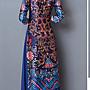 2017春秋裝新款高端貴氣 奧黛越南假兩件立領中長A字旗袍連身裙