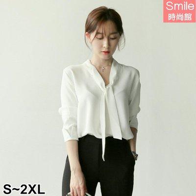 【V2555】SMILE-OL氣質.純色V領系帶蝴蝶結中長袖上衣