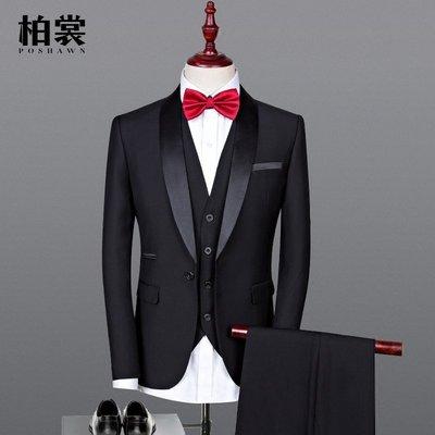 晚禮服男三件套青果領新郎結婚西裝套裝男士修身黑色表演主持西服BS01