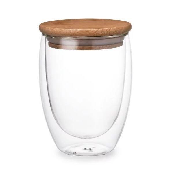 【Caldo卡朵生活】萃時尚雙層隔熱附木蓋玻璃杯 350ML【JC科技】