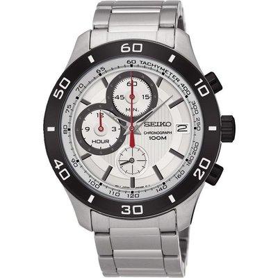 SEIKO WATCH 精工計時碼錶日期鐵灰框銀白面鋼帶紳士腕錶 型號:SSB189P1【神梭鐘錶】