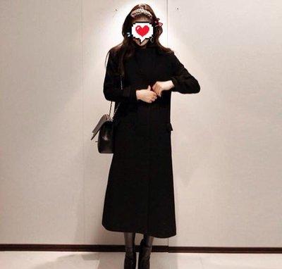 【Calvin Klein 】 100 %Cashmere 喀什米爾 深黑 軍裝風雙排釦長大衣