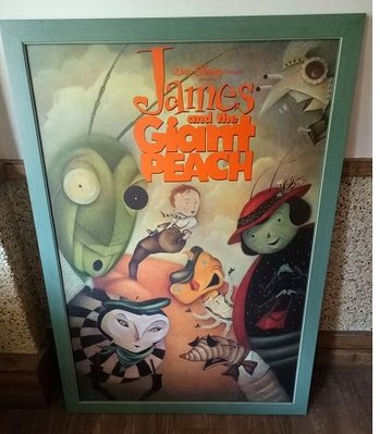 飛天巨桃歷險記-James and the Giant Peach(1996)已裱框原版電影海報(框8成新)