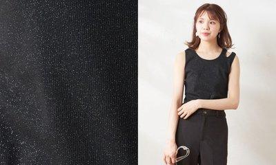 桃莉琪*moki*日系雙肩帶亮閃閃螺紋彈性背心-黑色