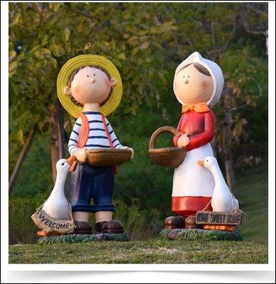鄉村風 戶外大型農村男女孩娃娃擺飾品 男孩女孩提花籃玩偶Home welcome迎賓可愛動物公仔園藝造景促銷【歐舍傢居