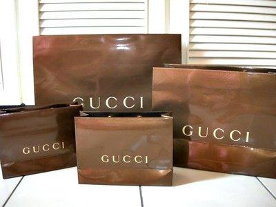【GUCCI】專櫃正品古馳深咖啡色LOGO超厚中型紙袋