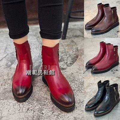 『潮范』 WS09 新款歐美風牛皮短靴厚底鉚釘套腳尖頭拉鏈英倫皮靴松糕底男靴GS2084