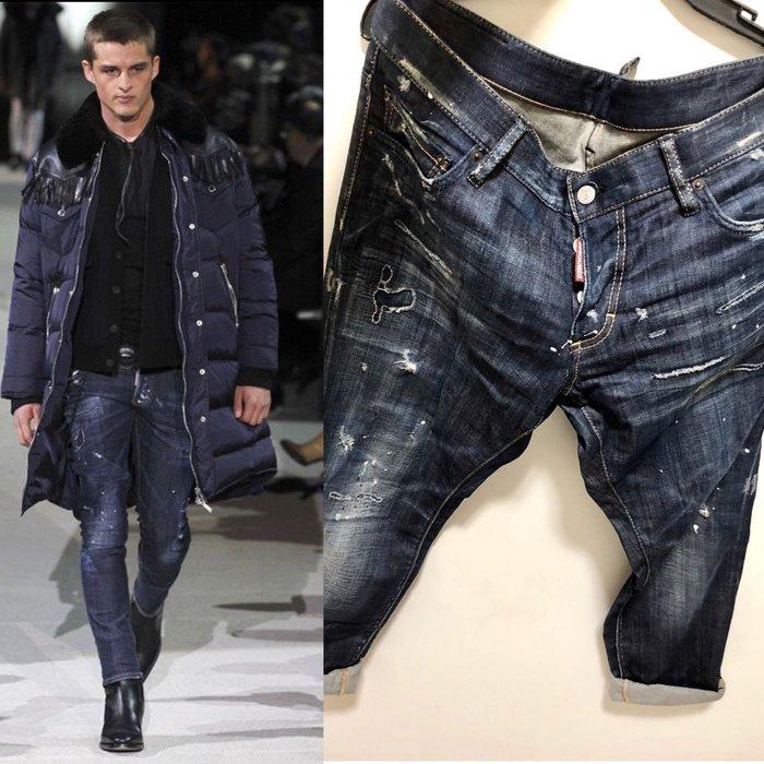 ~The Black Dan Moccani~ [四折二手拍] Dsquared2 Baffo 潑漆/破壞 小直筒牛仔褲