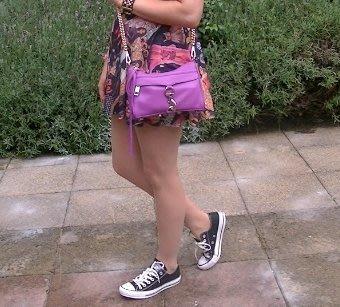【折扣現貨】正品Rebecca Minkoff  Mini Mac Bag牛皮革手拿/肩鍊包 粉紫色+銀鍊(Grape)
