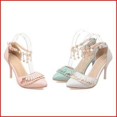 涼鞋*鞋館Shoes hall*【A12436】璀璨氣質~絕美流蘇漸層寶石高跟涼鞋~3色~(可訂做大尺碼)