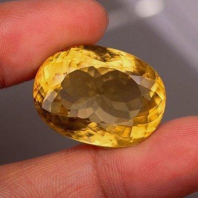36.23cts天然VVS橢圓形黃色方解石(大顆)-Calcite