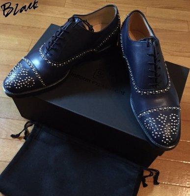 BLACK全新uniform experiment x VIBRAM大底UE手工鉚釘雕花皮鞋,牛津鞋