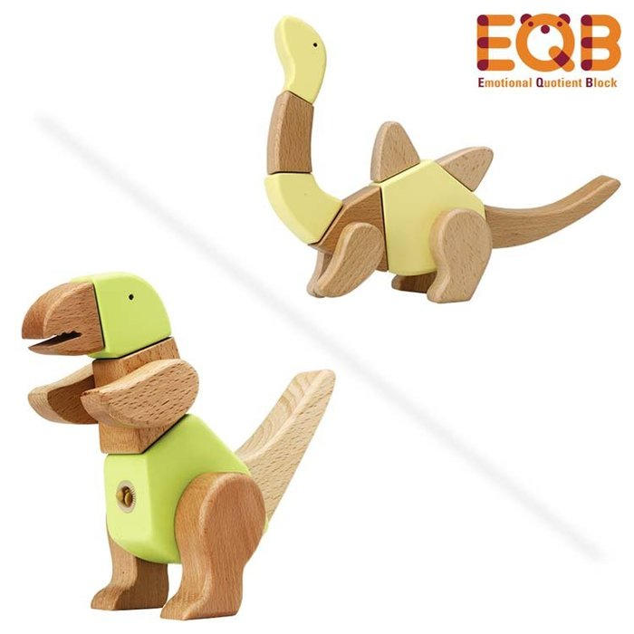 ♫♥Yo媽‧嚴選♥♫ 韓國EQB 益智旋轉積木 (恐龍朋友) 8in1 木頭積木 木頭玩具 拼圖 [韓國製]