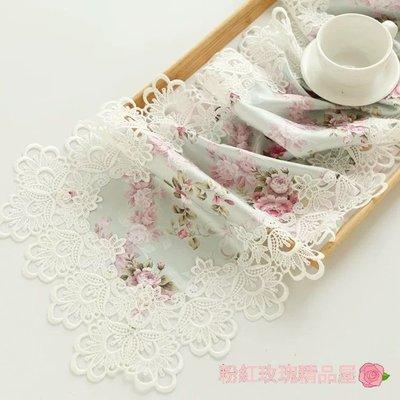 粉紅玫瑰精品屋~歐式高檔田園緹花蕾絲桌...