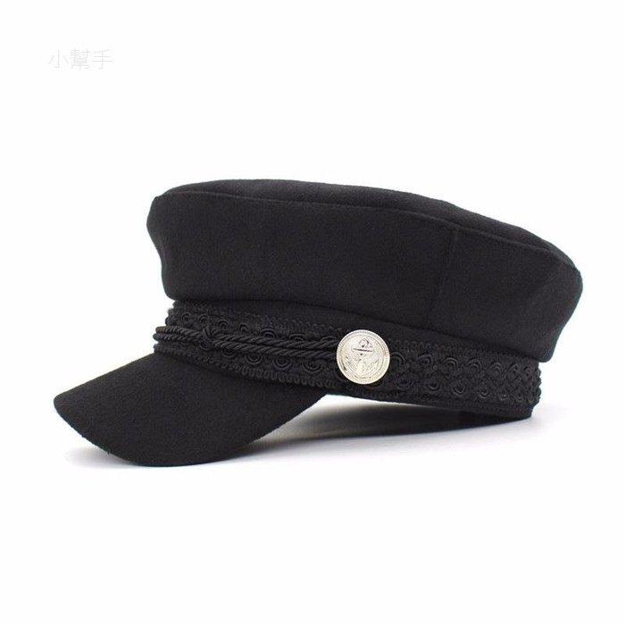 唐嫣蕾絲扣子毛呢軍帽復古畫家帽鴨舌帽平頂帽棒球帽/優品小舖/