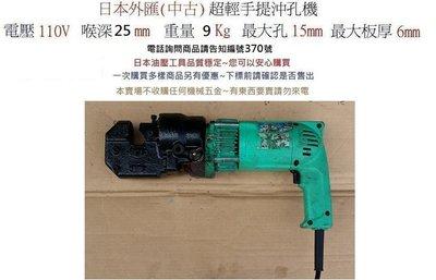 日本外匯(中古)- 手提式~電動油壓沖孔機 ~輕便型~ 油壓工具~編號370號