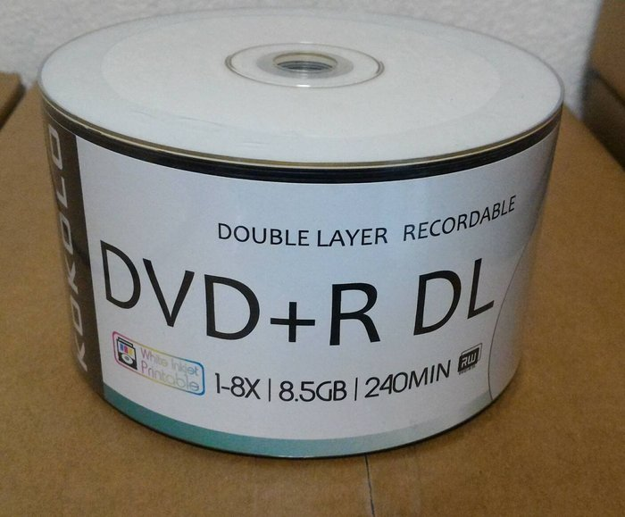 KOKOLO 滿版Printable可印式A級DVD+R DL 8X (50片)8.5GB/240MIN【高解析度】