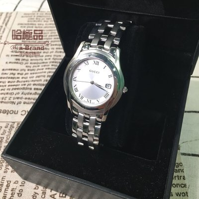 【哈極品】二手商品《GUCCI》白面圓形鍊帶石英錶