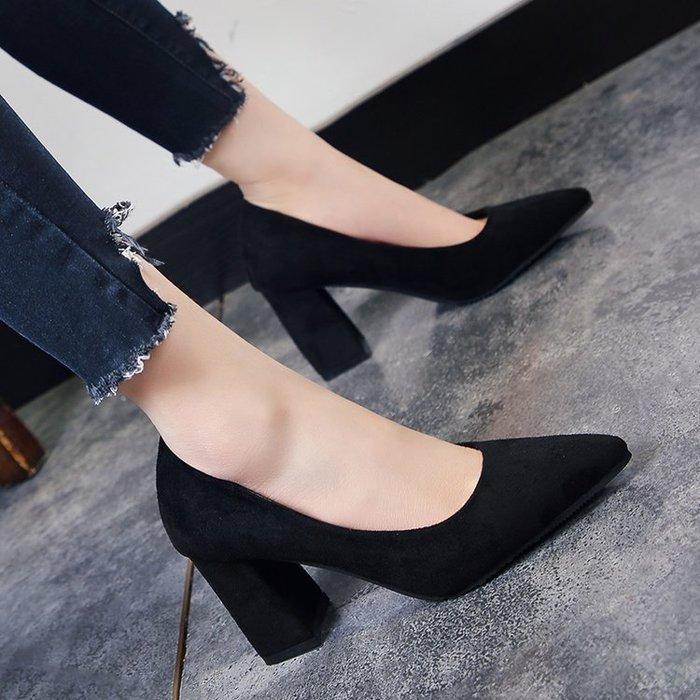 韓版尖頭淺口絨面單鞋粗跟高跟鞋中跟百搭工作鞋女