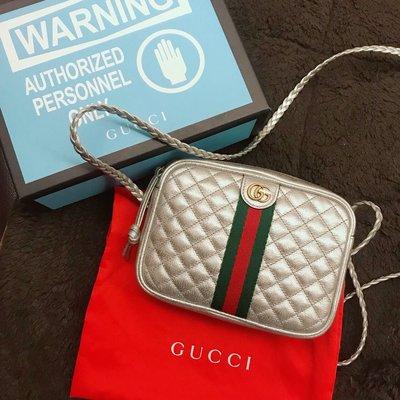 Gucci laminated leather mini shoulder bag 銀色 現貨 正品