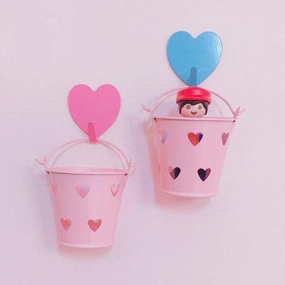 文具收納韓國ins可愛少女心 迷你粉色愛心小水桶手賬文具貼紙收納擺拍道具