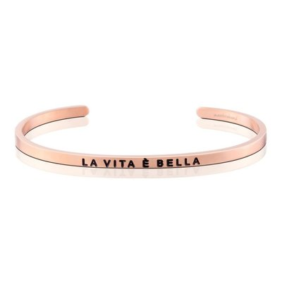 MANTRABAND 美國悄悄話手環 LA VITA E BELLA 美麗人生  義大利文版 玫瑰金手環