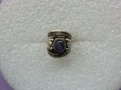 西藏老戒:藏銀.鑲紫水晶