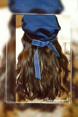 春夏天百搭海軍女帽/蝴蝶結貝蕾帽/(白、黑、深藍三色)$299