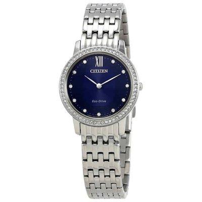 【換日線】女錶 Citizen Silhouette Crystal Navy Blue Dial Ladies Watch EX1480-58L