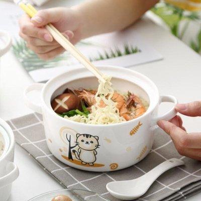 陶瓷卡通餐具泡面碗大容量帶蓋微波爐可愛便當飯盒食堂打飯陶瓷碗