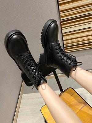 保暖女鞋 機車靴 馬丁靴 時尚百搭馬丁靴女ins秋季百搭英倫風圓頭增高黑色切爾西靴女