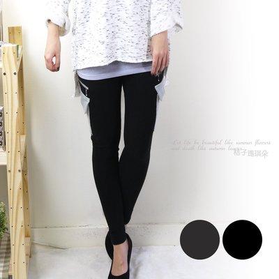 正韓 韓國連線 大腿側大口袋+拉鍊 超彈性 超顯瘦 厚棉內搭褲 ~桔子瑪琪朵